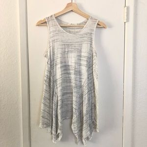 White and grey flowy top